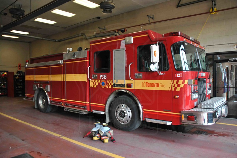 Pumper 315 in quarters.<br /> <br /> Photo by Larry Thorne