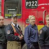"Pumper 322 ""B"" Platoon with the new rig, after bringing it back to the hall on it's first day.<br /> <br /> Photo by Kevin Hardinge"