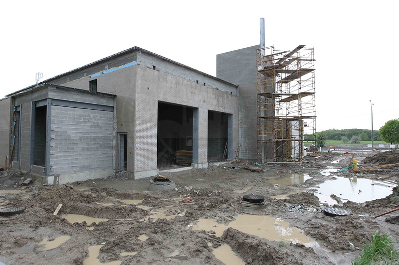 Work progresses on Station 141's new firehall. Located across the street from their present quarters, which will be torn down to make room for a new subway station.<br /> <br /> Photo by Kevin Hardinge