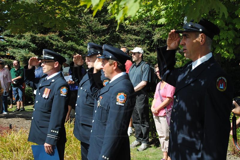 "Pumper 227 ""B"" Platoon attended the 9/11 Memorial Service @ Woodbine Park Millennium Gardens.<br /> <br /> Photo by Larry Thorne"