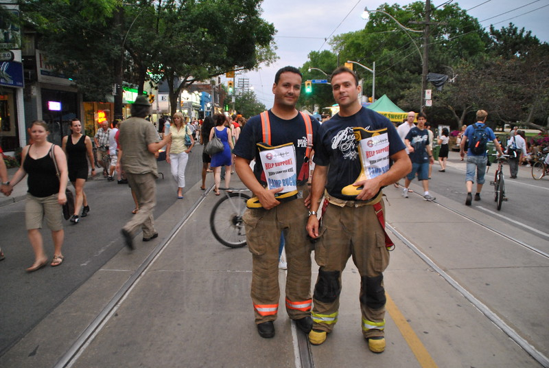 TPFFA members on a boot drive during the Beaches Jazz Streetfest for Camp Bucko.<br /> <br /> Photo by Larry Thorne