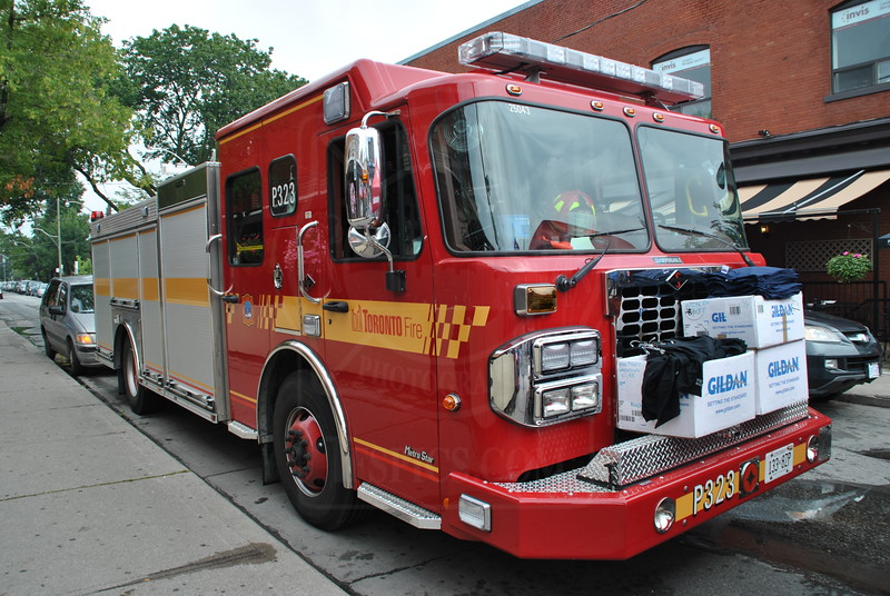 Pumper 323 at the Taste of the Danforth.<br /> <br /> Photo by Larry Thorne.