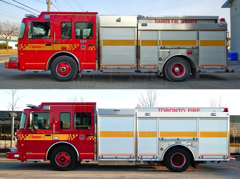 Spartan/Smeal Rescue vs. new Crimson Rescue.<br /> <br /> Photo by Kenneth Lai
