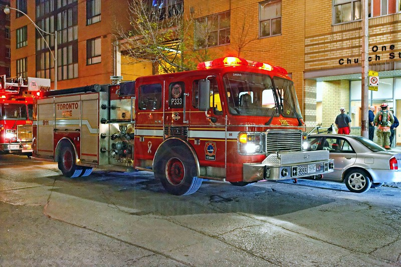 Pumper 333 on the scene of highrise alarms at 1 Church St., October 22, 2011.<br /> <br /> Photo by Kevin Hardinge