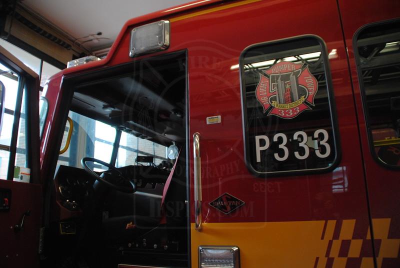 Pumper 333's new rig in service October 26, 2011.<br /> <br /> 2010 Spartan MetroStar<br />           Crimson Fire / Dependable<br />           2000gpm / 500 gal. tank<br />           Shop # 25034<br /> <br /> <br /> Photo by Larry Thorne