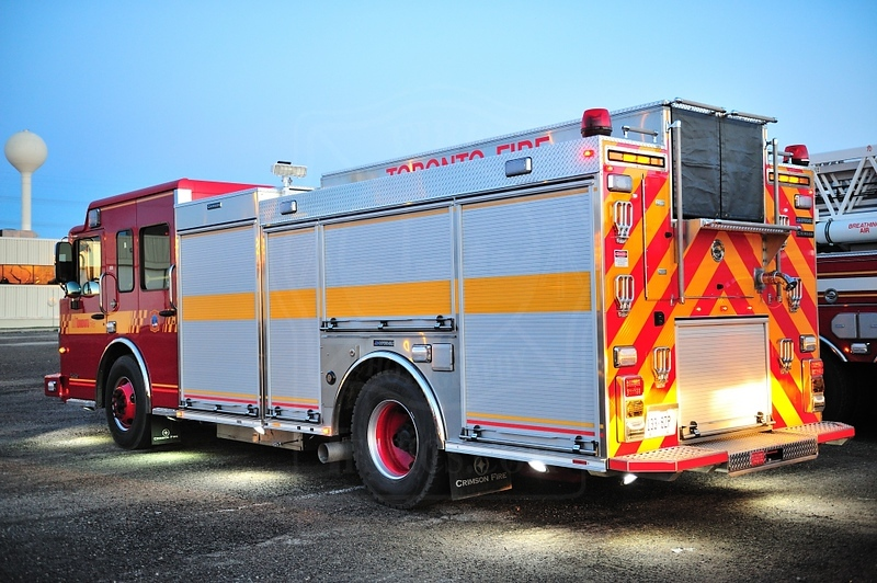 One of Toronto Fire's new Crimsom pumpers on display at the OAFC Annual Convention and Trade Show.<br /> <br /> Photo by Kenneth Lai