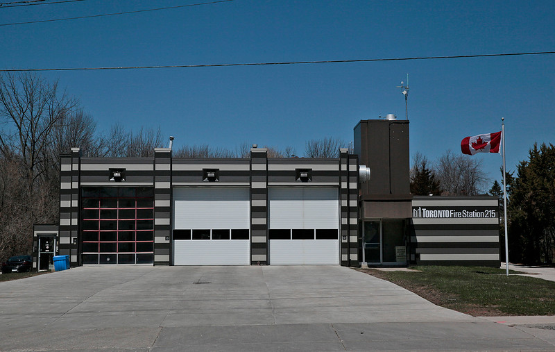 Station 215<br /> <br /> 5318 Lawrence Ave. East<br /> Built 1974<br /> Formerly Scarborough F.D. Station 11<br /> <br /> A215<br /> <br /> Photo by John Hanley