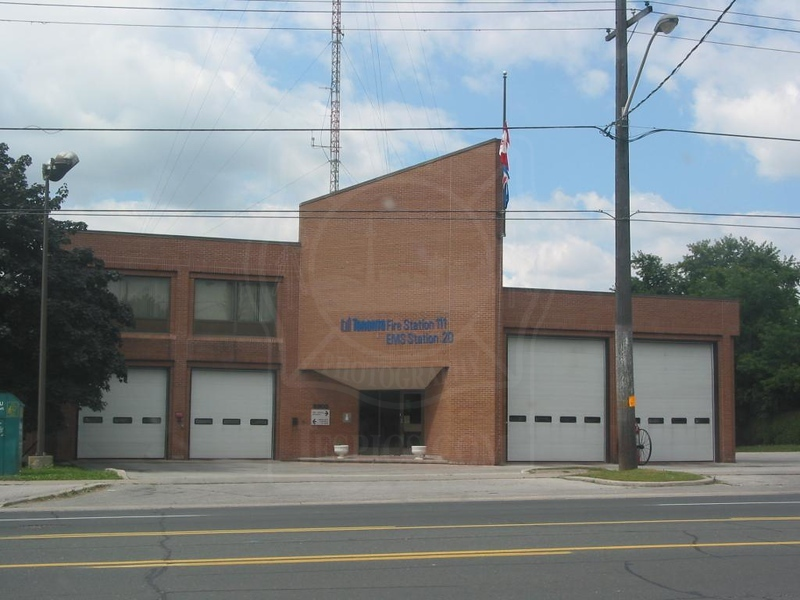 Station 111<br /> <br /> 3300 Bayview Ave.<br /> Built 1979<br /> Formerly North York F.D. Station 13<br /> <br /> C11, P111<br /> <br /> Photo by Desmond Brett