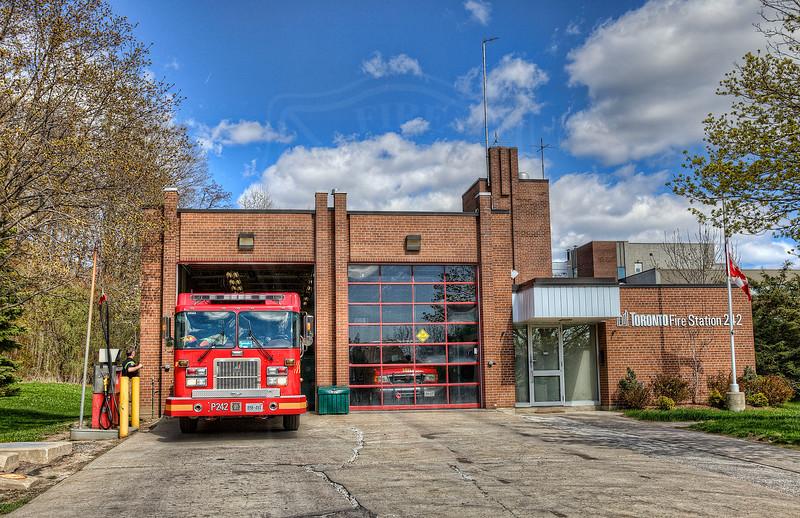 Station 242<br /> <br /> 2733 Brimley Rd.<br /> Built 1975<br /> Formerly Scarborough F.D. Station 13<br /> <br /> P242, C24<br /> <br /> Photo by Kevin Hardinge