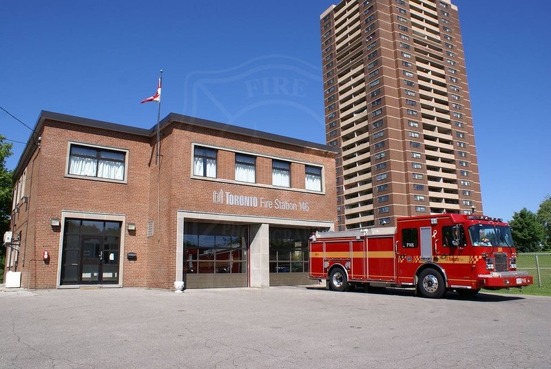 Station 146<br /> <br /> 2220 Jane St.<br /> Built 1956<br /> Formerly North York F.D. Station 4<br /> <br /> P146<br /> <br /> Photo by Kevin Hardinge