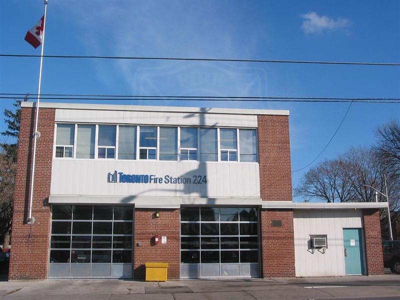 Station 224<br /> <br /> 1313 Woodbine Ave.<br /> Built 1952<br /> Formerly East York F.D. Station 3<br /> <br /> R224, P224<br /> <br /> Photo by Desmond Brett