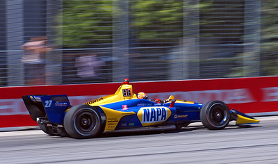 Alexander Rossi passing the Enercare Center.