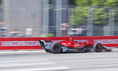 Ed Jones in the Ed Carpenter Scuderia Corsa car hard on the brakes as he enters the right angled Turn #1.