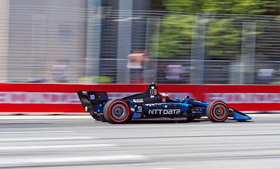 Fast Felix Rosenqvist in the NTT Data Chip Ganassi car braking hard for Turn #1.