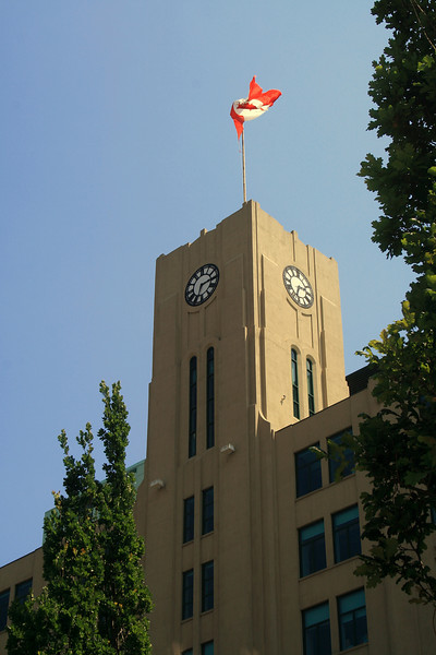 Clock Tower with Flag