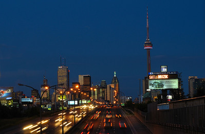 Toronto skyline looking west from bridge at CNE