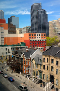 Looking down on Church St from the 4th floor of George Brown College.