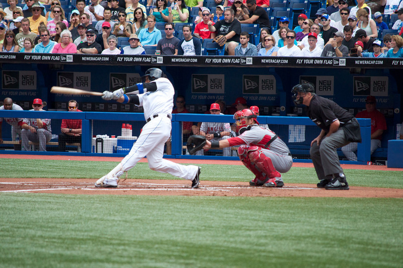 Adam Lind hit a grand slam, Edwin Encarnacion and Mark Teahen also went deep and the Toronto Blue Jays beat the Los Angeles Angels 11-2 on Saturday.<br /> All three homers came off Angels ace Jered Weaver, who allowed eight runs and eight hits, both season highs, in 4 2-3 innings, his shortest outing of the year.