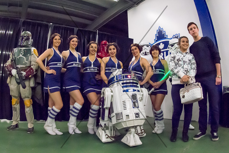 March 20th, 2015 - TORONTO CANADA - On Star Wars Night, the AHL Toronto Marlies batlle the evil empire  Lake Erie Monsters at Ricoh Coliseum.  May the Force be with them. (Photo credit: Christian Bonin/TSGphoto.com)