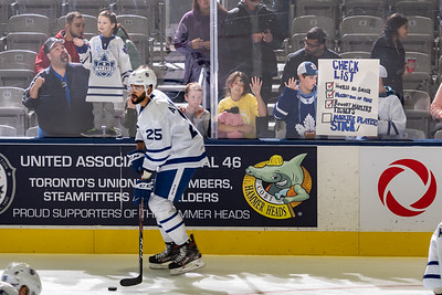 October 19th, 2019  -  TORONTO ONTARIO CANADA -  The Toronto Marlies, AHL affiliate of the NHL Toronto Maple Leafs, take on the Cleveland Monsters at the Coca-Cola Coliseum in Toronto Canada. (Photo credit: Christian Bonin/TSGphoto.com)