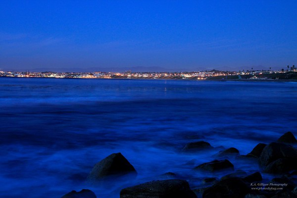 View of South Bay @and Torrance Beach at night
