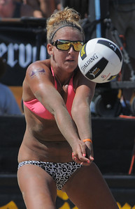 in the womens' championship match of the Manhattan Beach Open Sunday. Jenny Kropp and Whitney Pavlik won the title in two games over Tracy Jones and Jennifer Fopma.  Jose Cuervo Pro Beach Volleyball Series. August 28, 2011. Photo by Steve McCrank / Daily Breeze
