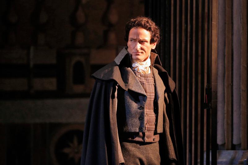 Tenor Joel Sorensen is Spoletta in San Diego Opera's TOSCA (February, 2016). Photo copyright Cory Weaver.