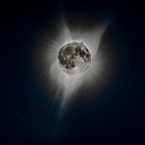 A whimsical and impossible image for fun: The Full Moon superimposed on Totality
