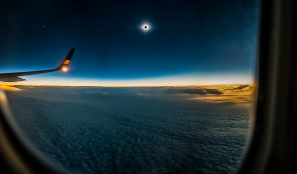 Totality over Iceland, and seeing the moon's shadow from the air!