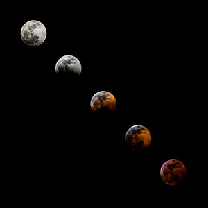 Five phases of a Total Lunar Eclipse from Full Moon to the Peak of Totality