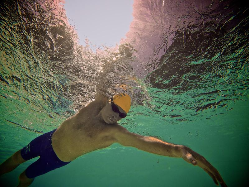 Terry Laughlin in freestyle stroke in backyard pool.  Sun directly overhead