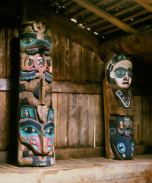 Konakadet Totems in Longhouse, Kasaan, AK