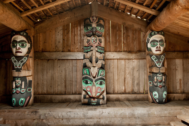House posts inside long house in Kassan (Prince of Wales Island), AK