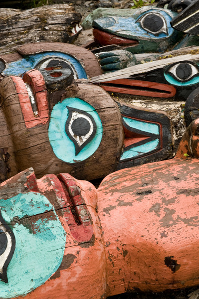 Old Totems to be replicated outside carving shed, Klawock