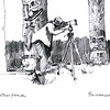 This sketch of me photographing the totem poles in Hydaburg, AK by my brother-in-law Kris Anderson.  It was made during a trip in 1997.