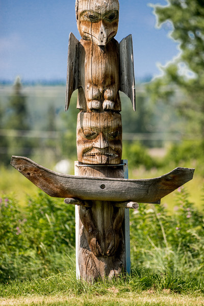 Totem pole located in Kispiox, BC.  Kispiox is a Gitxsan small village at the confluence of the Kispiox and Skeena rivers.  It is known as a fisherman's paradise.