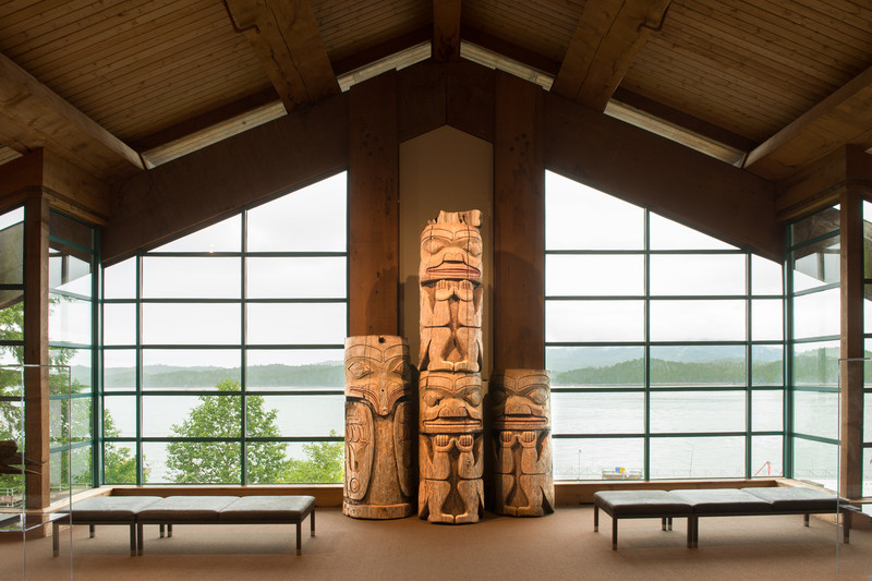 This exhibit is located in the Monumental Gallery of the Museum of Northern British Columbia in Prince Rupert.  The gallery overlooks Prince Rupert Harbor.