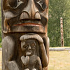 Detail of totem pole in Gitanyow (formerly known as Kitwancool) BC.