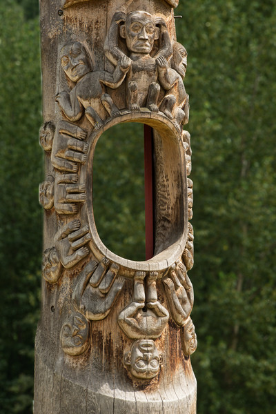 """Known as the """"Hole in the Sky"""" totem pole, this pole is located in Gitanyow (formerly call Kitwancool), BC"""