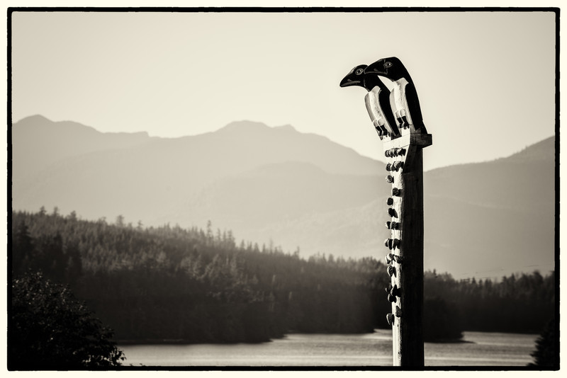 Two Murry Ducks on a pole with clams.  Klawock (Prince of Wales Island), AK