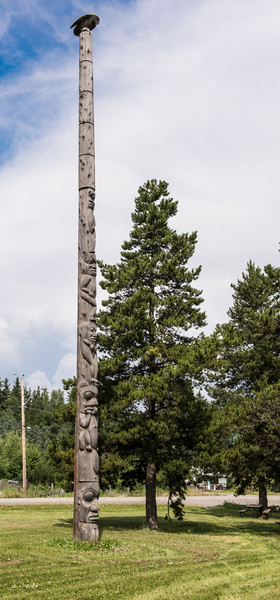 Totem pole is Kispiox, BC.   Kispiox is a Gitxsan small village at the confluence of the Kispiox and Skeena rivers.  It is known as a fisherman's paradise.