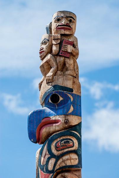 Top of Tsimshian pole by David Boxley at Ketchikan Indian Community Center.