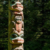 Pole carved by Tlingit Tommy Joseph in 1999 to commemorate Chief K'aylaan, leader of the  Tlingits, in the Tlingit/Russian battle of 1804.  The pole is located on the site of the battleground where the last major Native resistance to Russian dominance took place.  The black raven's head at the bottom of the pole represents the helmet worn by the chief in that battle.