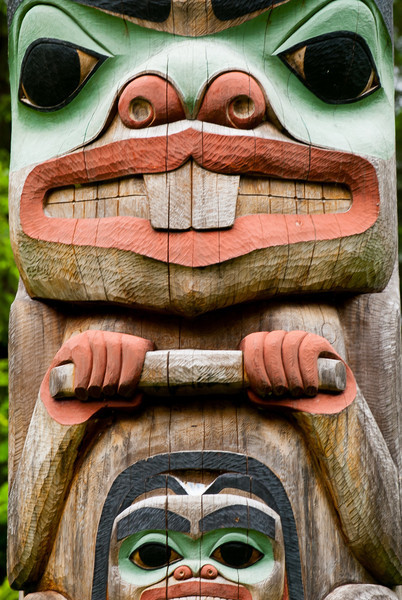 Detail of lower portion of pole carved by Tlingit Tommy Joseph in 1999 to commemorate Chief K'aylaan, leader of the  Tlingits, in the Tlingit/Russian battle in 1804.  The pole is located on the site of the Tlingit fort.