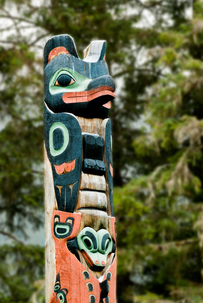 Top of a pole carved by Tlingit Tommy Joseph in 1999 to commemorate Chief K'aylaan, leader of the  Tlingits, in the Tlingit/Russian battle in 1804.  The pole is located on the site of the Tlingit fort.