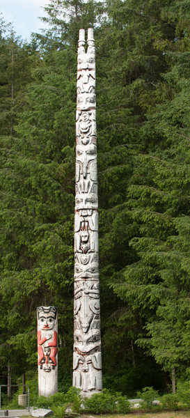 Poles near entrance to Sitka National Historical Park.