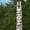 Pole near entrance to Sitka National Historical Park.