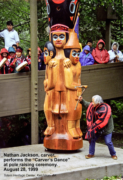 Nathan Jackson performing the Carver's Dance at base of Honoring Those Who Give pole during pole raising cermonies, August, 1999.
