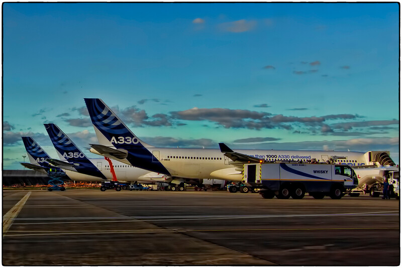 A340, A350, and A330 on the Ramp in Toulouse