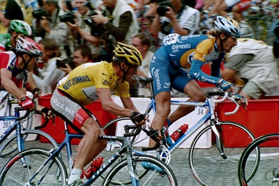 Stage 20 - Champs Elysees - Lance Armstrong and Vladimir Karpets